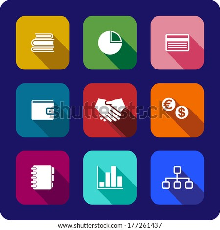 Flat business icons or buttons each on a different coloured background depicting the handshake, currency, purse, chart, graph credit card, notebook and books, vector illustrations - stock vector