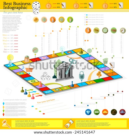 flat business infographic background with financial board game game cells, dice, game pieces, money, pointer, icon etc - stock vector