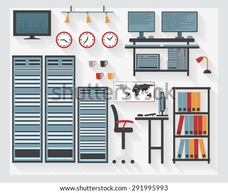 Flat Business Server Room Furniture Icons with Computers - All Long Shadows on one layer - contains blends  - stock vector