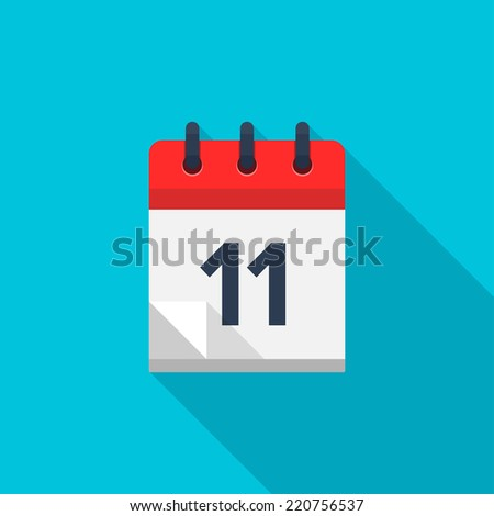Flat calendar icon. Date and time background. Number 11 - stock vector