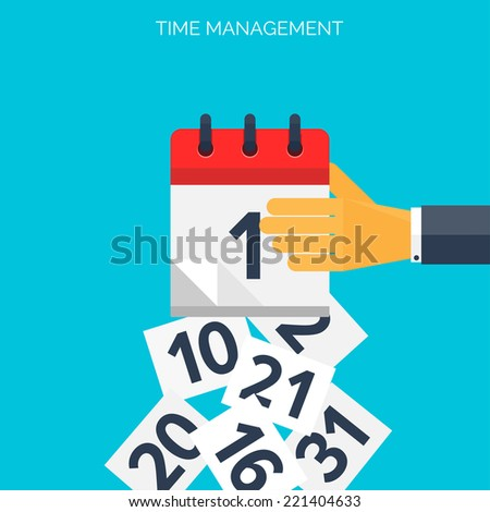 Flat calendar icon. Date and time background. Time management concept. - stock vector