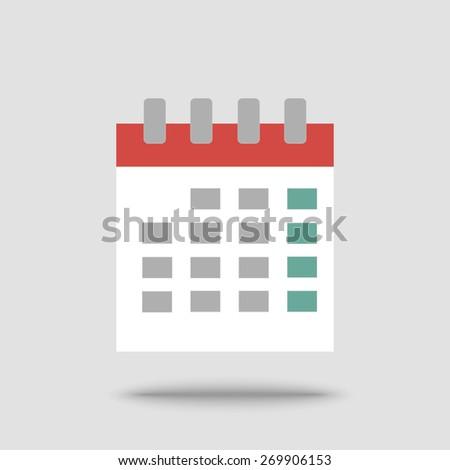 Flat calendar icon. Vector illustration - stock vector