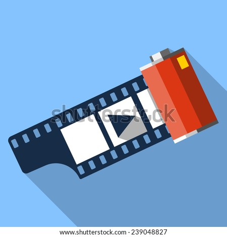 Flat Camera Film Roll - stock vector