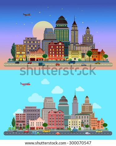 Flat cartoon city set day and sunset night. Road highway avenue transport street traffic before line of buildings skyscrapers business center offices. Urban life lifestyle collection. - stock vector