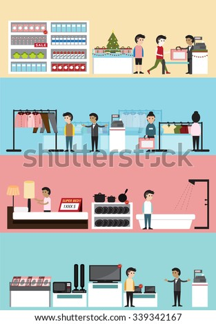 Flat cartoon department store building interior and layout for supermarket, clothing boutique, household, electronic seasonal sale in Christmas with customer and employee banner background (vector)  - stock vector