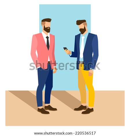 flat cartoon hipster character, vector illustration two businessman with phone  - stock vector