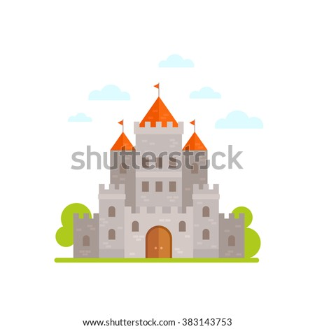 Flat cartoon medieval stone castle isolated on white background - stock vector