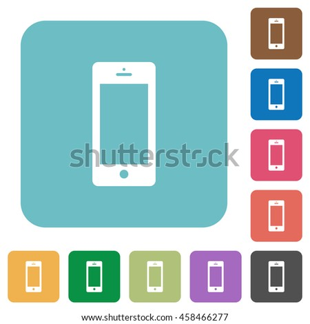 Flat cellphone icons on rounded square color backgrounds. - stock vector