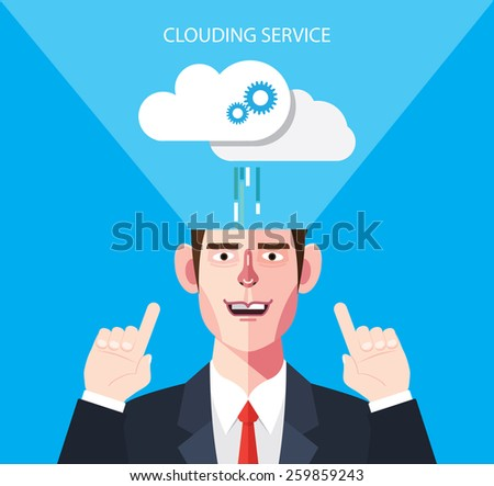 Flat character of data clouding service concept illustrations - stock vector