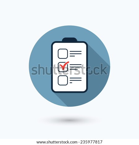 Flat checklist icon. Round shape button with long shadow. Isolated on white background. Vector illustration, eps 10. - stock vector