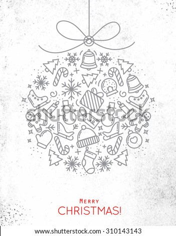 Flat Christmas tree toy drawing with thin grey lines on dirty paper - stock vector