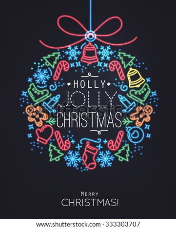 Flat Christmas tree toy in neon style lettering holly jolly Christmas drawing with thin color lines on black background - stock vector
