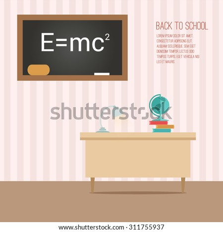 Flat classroom with globe and books on the table and blackboard with formula - stock vector