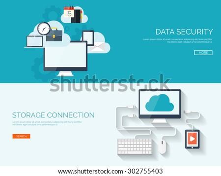 Flat cloud computing background. Data storage and virtual hosting. Information transfer. Web media server. - stock vector
