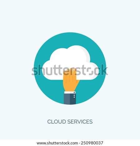 Flat cloud computing background. Data storage and web hosting. - stock vector