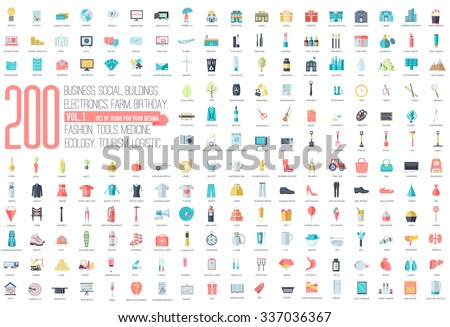 Flat collection set icons of business, social, eco, bank, farm, fashion, tool, medicine, travel, candy, logistic, make up, training, office, skill, fruit, rescue, startup. For infographic illustration - stock vector