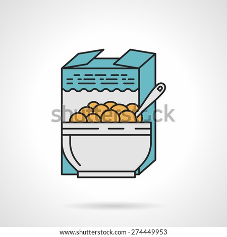 Flat color design vector icon for box and bowl with cereal on white background. Breakfast menu - stock vector