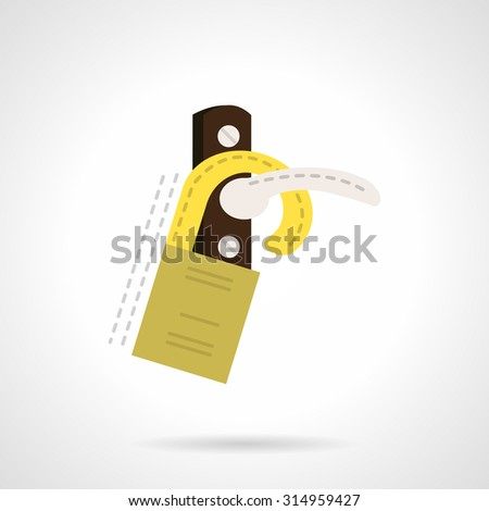 Flat color design vector icon for door hanger tag. Handle door with yellow warning sign with place for text. Design elements for business and website - stock vector