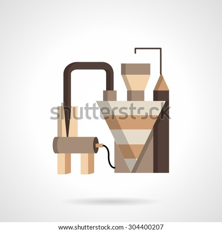 Flat color design vector icon for grain factory or plant. Agriculture industry buildings and structures. Design element for business and website. Element for the logo - stock vector
