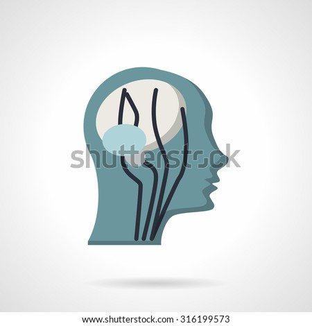 Flat color design vector icon for human head CT imaging, side view. MRI diagnostic. Elements of web design for business and website. - stock vector