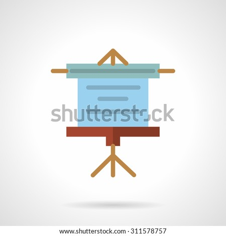 Flat color design vector icon for projector screen. Blue projector screen, sample presentation roller screen. Design elements for business and website - stock vector