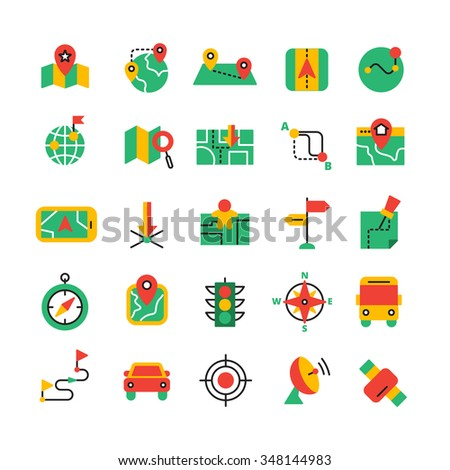 Flat color GPS and navigation icons set with satellite equipment vehicles and road route isolated vector illustration - stock vector