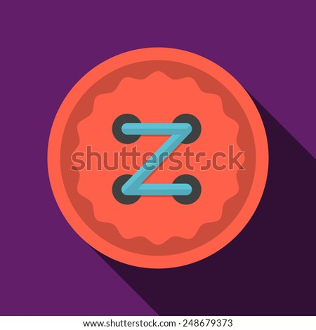 Flat color icon for red clothing button with blue thread on purple background. Long shadow design - stock vector