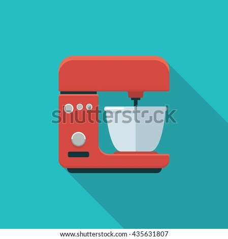 Flat color icon kitchen mixer. Vector illustration - stock vector