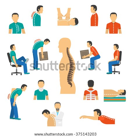 Flat color isolated icons for diagnosis spine diseases and treatment back pain vector  illustration - stock vector