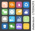 Flat Color style Eco icons vector set. - stock vector