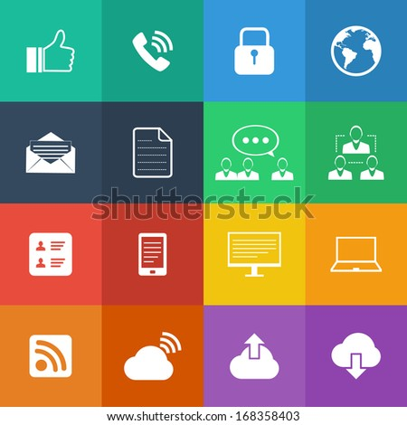 Flat Color style Internet icons vector set. - stock vector