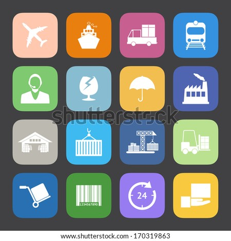 Flat Color style Logistics icons vector set. - stock vector