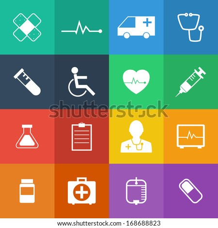 Flat Color style Medical Icons vector set. - stock vector