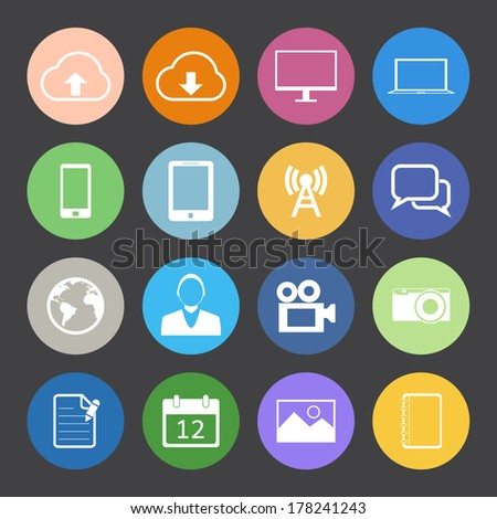 Flat Color style mobile phone vector set. - stock vector