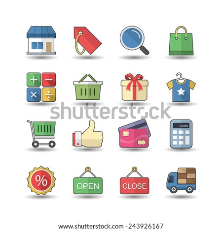Flat color style Shopping & Market icons set - stock vector