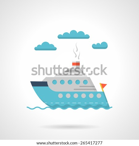 Flat color style vector icon for cruise steam passenger liner floating on waves on white background.  - stock vector