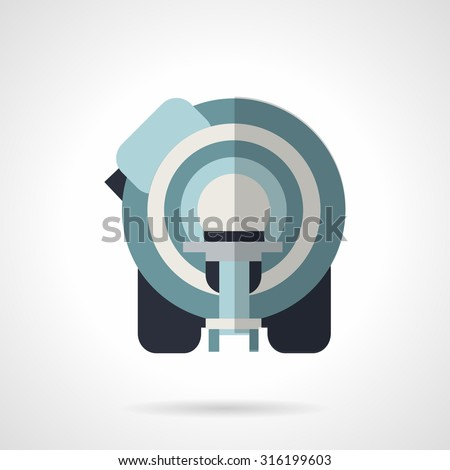 Flat color style vector icon for medical imaging system. Equipment for magnetic resonance imaging, neuroscience, neurosurgery. Elements of web design for business or website. - stock vector