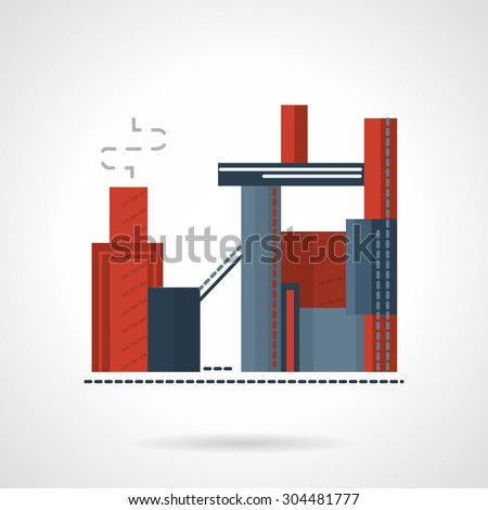 Flat color vector icon for build of concrete factory. Production of concrete, construction industry. Design element for business, logo and website. - stock vector