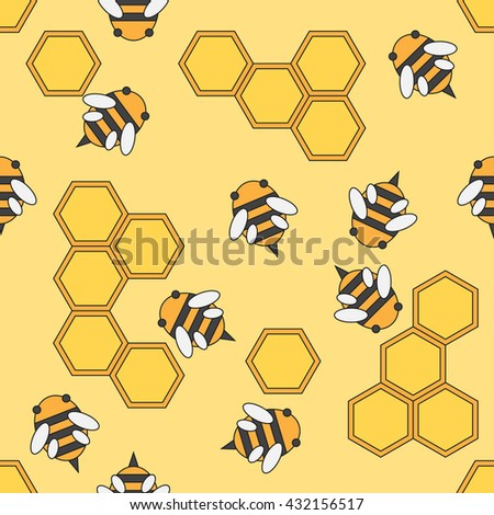 Flat color vector seamless beekeeping pattern. Wrapping paper beekeeping pattern. Cute doodle pattern with bees and honeycombs. Vector illustration and element for design, wallpaper. Background.  - stock vector