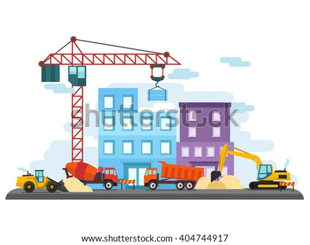 Flat Colorful Construction Site - stock vector