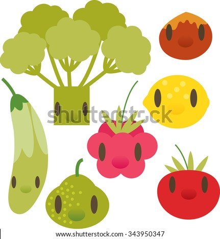 flat comic cartoon vegetable and fruits pictogram: broccoli, nut, zucchini, lemon, raspberry, pear, tomato - stock vector