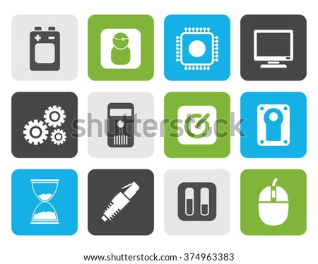 Flat Computer and mobile phone elements icons - vector icon set - stock vector
