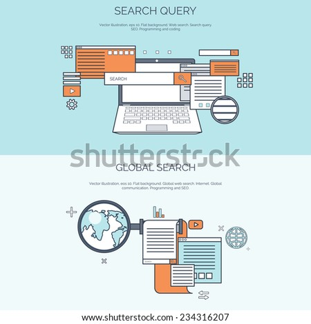 Flat computer mouse icon. Programming concept background. Coding. - stock vector