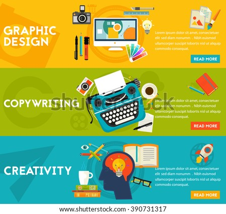 Flat concept banners. Graphic Design, Copywriting, Creativity - stock vector