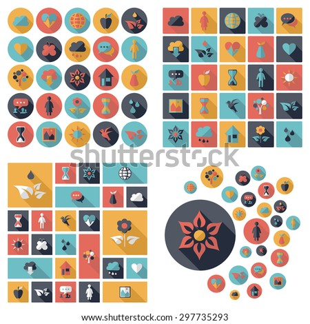 Flat concept design with shadow SEO ecology icon - stock vector