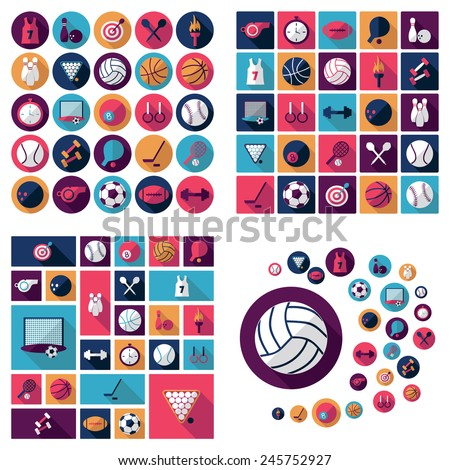 Flat concept, design with shadow, sports icons - stock vector