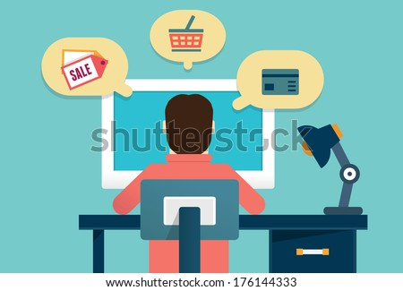 Flat concept of process e-marketing and e-commerce. Customer orders product - vector illustration  - stock vector