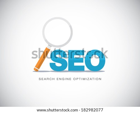 Flat concept of Search Engine Optimization with magnifying glass vector - stock vector