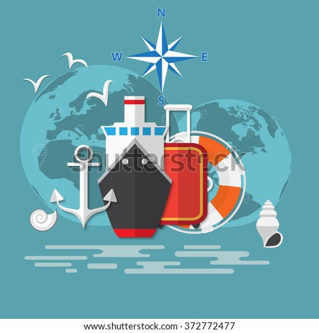 Flat concept of World travel and tourism. Holidays and vacation. Concepts for web banners and promotional materials. - stock vector