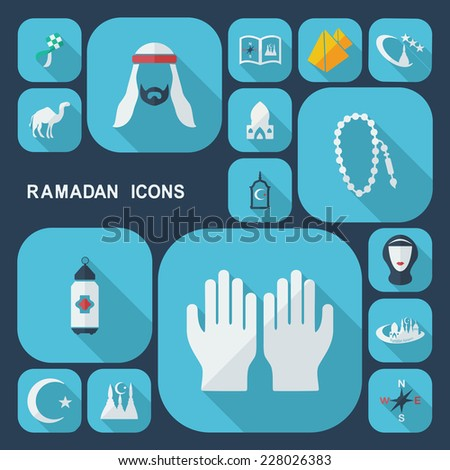 Flat concept, set modern design with shadow icons for web design and mobile applications, SEO. search Working Optimization:  Ramadan icons - stock vector